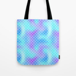 Mint Blue Mermaid Tail Abstraction. Cool Fish Scale Pattern Tote Bag