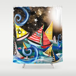 Night Sailing - Aurora Art Moonlight Stars Night Shower Curtain