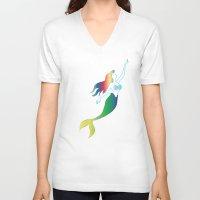 mermaids V-neck T-shirts featuring Mermaids by Los Espada Art