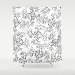 Hand painted black white abstract floral mandala Shower Curtain
