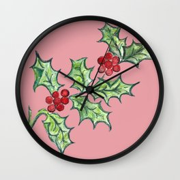 Holly Sprig (red) Wall Clock