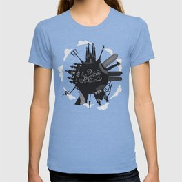 Barcelona World with significant buildings T-shirt