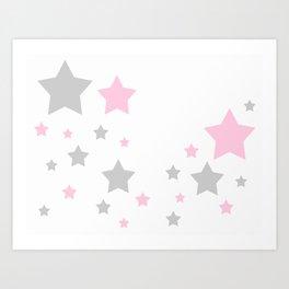 Pink Grey Gray Stars Art Print