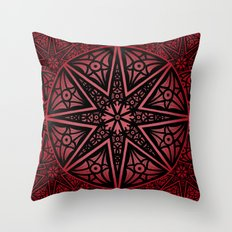 rashim red star mandala Throw Pillow