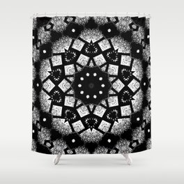 Black White Mosaic Kaleidoscope Mandala Shower Curtain