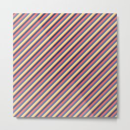 Summer Bright Colors Inclined Stripes Metal Print