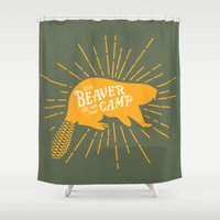 beaver Shower Curtains featuring Beaver Camp: Face Your Fears by Mother Goosebumps