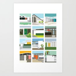 Midcentury Vintage Architecture Inspired by the Palm Springs Desert and Modern California Style Art Print