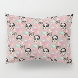 girl and cat pink Pillow Sham