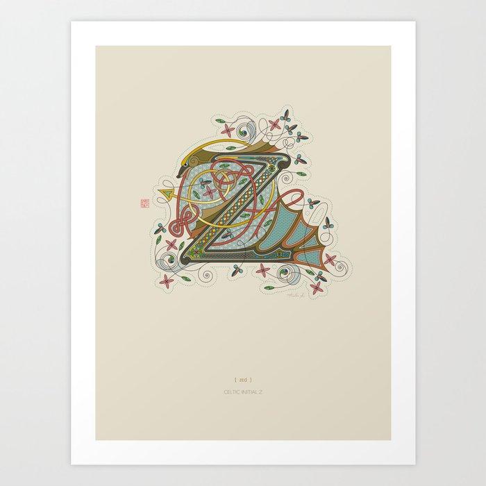 Celtic Initial Z Art Print