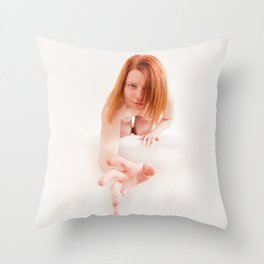 8723s-MM Crouching Woman Reaching Out High Key Art Nude Red Hair Throw Pillow