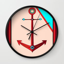 An Ship Anchor in Maroon, Red and Teal, Nautical Wall Clock