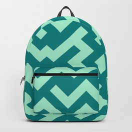 Magic Mint Green and Teal Green Diagonal Labyrinth Backpack