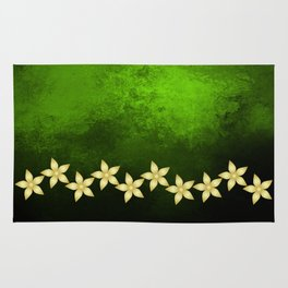 Gold flowers and bold green and black grunge texture Rug