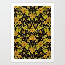 Yellow, Orange, Tan & Black Intricate Floral Pattern Art Print