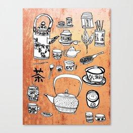 Chinese Tea Doodles 2 Canvas Print