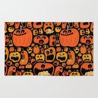 pumpkin Area & Throw Rugs featuring Pumpkin Pattern by Chris Piascik