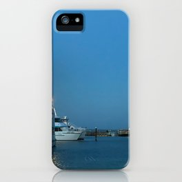 Pretty blue sky and boats at Nelsons Bay, NSW, Australia iPhone Case