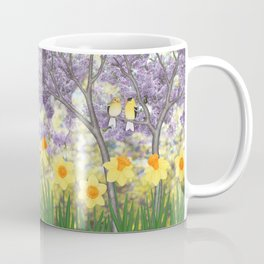 goldfinches, lilacs, & daffodils Coffee Mug