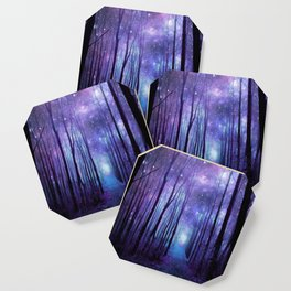 Fantasy Forest Path Icy Violet Blue Coaster