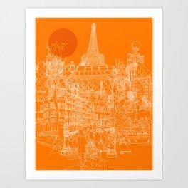 Paris! Orange Sun Art Print