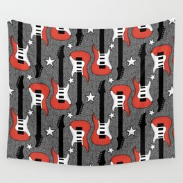Rock and Roll_ Red and White Guitar Wall Tapestry