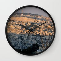 israel Wall Clocks featuring Jerusalem Living in Israel by Rachel J