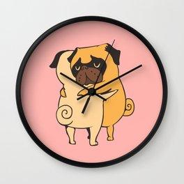 Pug Hugs Wall Clock
