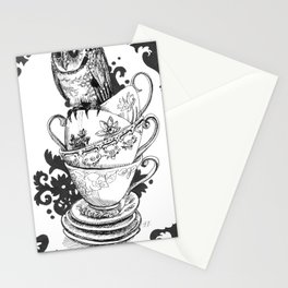 Baby Owl in Antique Teacups  Stationery Cards