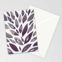 Watercolor floral petals - purple and grey Stationery Cards