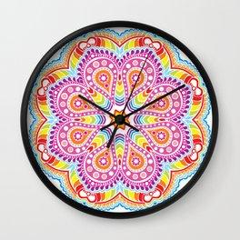 rastafarian mandala in rainbow colors on white Wall Clock
