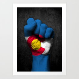 Colorado Flag on a Raised Clenched Fist Art Print