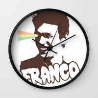 james franco Wall Clocks featuring Magic Franco by One Giant Eye