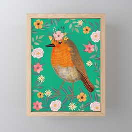 Robin Bird with flowers Framed Mini Art Print