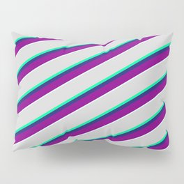 Vibrant Light Gray, Green, Midnight Blue, Purple & Light Cyan Colored Striped/Lined Pattern Pillow Sham
