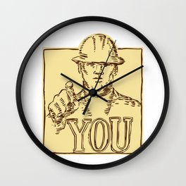 Construction Worker Pointing You Etching Wall Clock