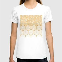 Geometric Effect Caramel Marble Design T-shirt