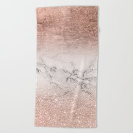 Modern faux rose gold glitter and foil ombre gradient on white marble color block Beach Towel