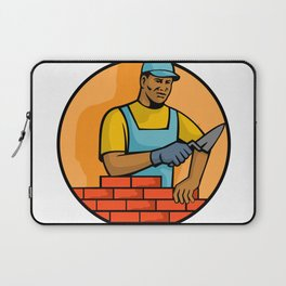African American Bricklayer Mascot Laptop Sleeve