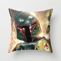 boba Throw Pillows featuring Boba Fett by Mishel Robinadeh