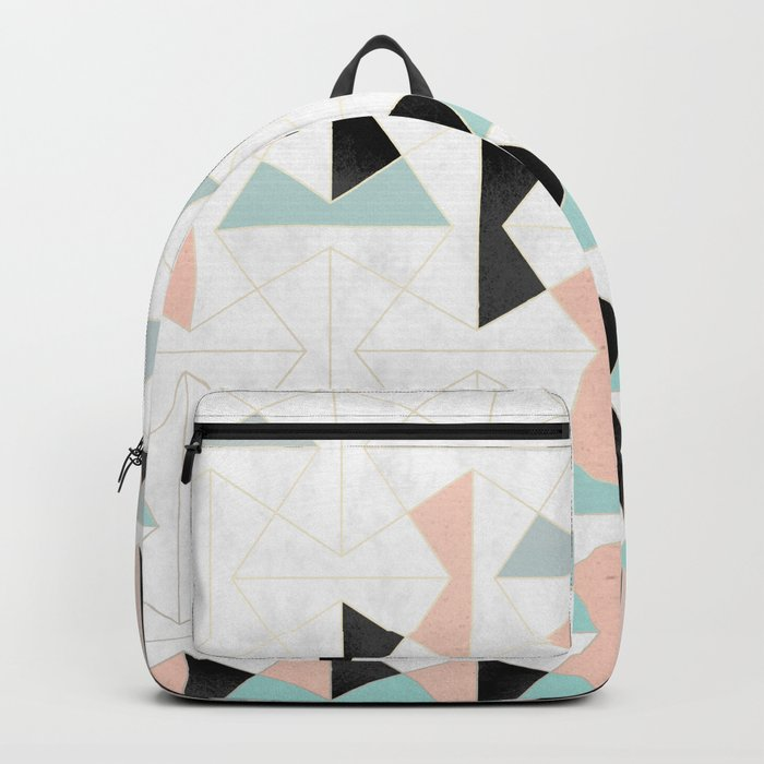 Mixed Material Tiles Backpack