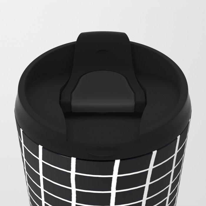 Handdawn Grid Black Metal Travel Mug