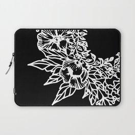 White Linocut Flowery Wreath On Black Laptop Sleeve