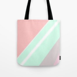 Abstract geometrical mint green coral pink stripes Tote Bag