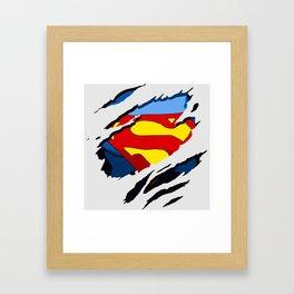 superhero torn - SuperMan Framed Art Print