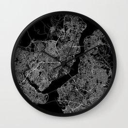 Istanbul Black Map Wall Clock