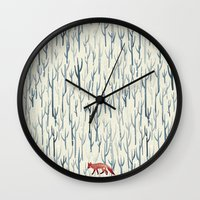 wood Wall Clocks featuring Winter Wood by littleclyde