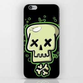 Toxic skull and crossbones green iPhone Skin