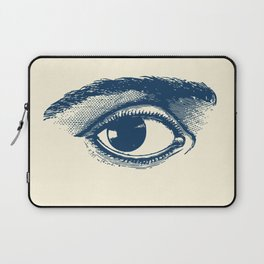 I see you. Navy Blue on Cream Laptop Sleeve