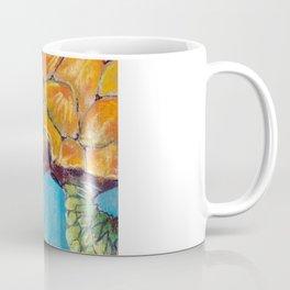 Water turtle in the ocean. pastel. Coffee Mug